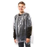Kids emergency hooded plastic poncho