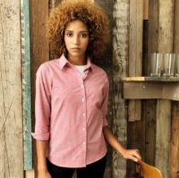 Womens Microcheck (Gingham) long sleeve cotton shirt