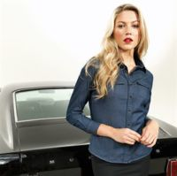 Womens jeans stitch denim shirt