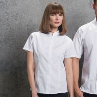 Womens mandarin collar fitted shirt short sleeve