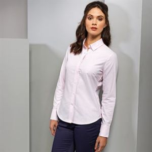 Womens cotton-rich Oxford stripes blouse