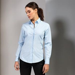 Womens stretch fit cotton poplin long sleeve blouse