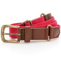 Faux leather and canvas belt