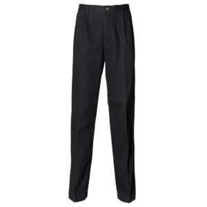 Teflon coated pleated chino trousers