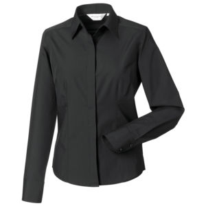 Womens long sleeve polycotton Easycare fitted poplin shirt