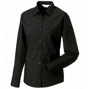 Womens long sleeve poly cotton Easycare poplin shirt