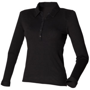 Womens long sleeve stretch polo