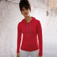 Anvil womens fashion basic long sleeve hooded tee