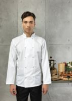 Studded front long sleeve chefs jacket