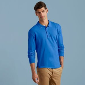 Premium cotton long sleeve double piqu polo