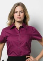Womens corporate pocket Oxford blouse short sleeved