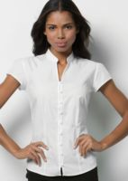 Womens continental blouse mandarin collar cap sleeve