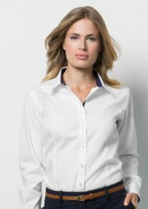 Womens contrast premium Oxford shirt long sleeved