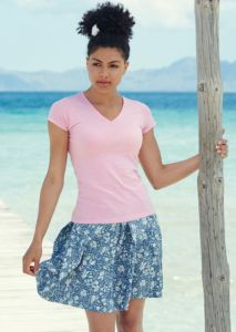 Lady-fit valueweight v-neck tee